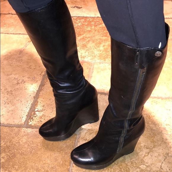 6e2eddc087b6 Coach Shoes | Lavish Wedge Black Boots 10 | Poshmark